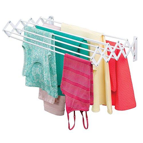 mDesign Wäscheständer aus Metall - ausziehbare Wäscheleine für den Waschraum - platzsparender Akkordeon Trockenständer zur Wandmontage - weiß