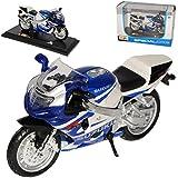 Suzuki Gsx R 750 R750 Blau Weiss 1/18 Maisto Modellmotorrad Modell Motorrad