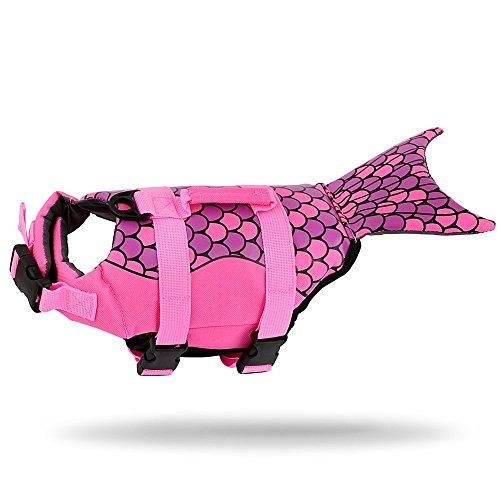 JF Hund Schwimmweste Pet Floatation Weste, Hunde Schwimmen Weste, Meerjungfrau/Shark Design Pet Life Saver Sicherheit Badeanzug Erhalter XS/S/M/L/XL Erhältlich für Pool, Strand, Bootfahren (4 Unze-schaum)