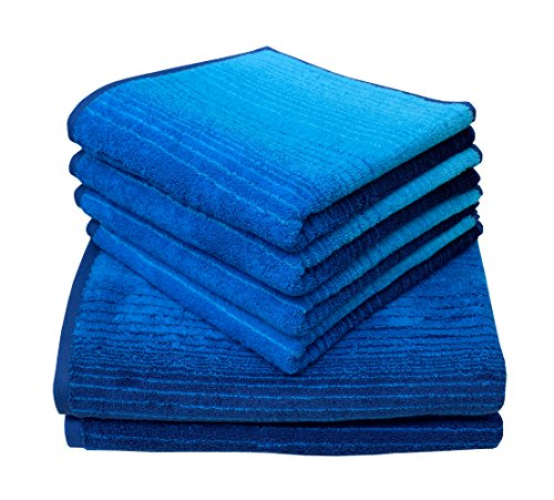 Dyckhoff 0768596400 Handtuchset, Duschtücher 70x140 cm, 4 Handtücher 50x100 cm, 6-teilig, blau
