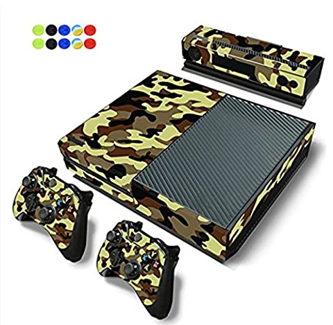 Skin for XBOX ONE - Morbuy Vinyl peau Protective Autocollant Decal Sticker pour Microsoft XBOX ONE console + 2 Autocollant Manette et 1 autocollant Kinect Set + 10pc SiliconeThumb Grips (Camo)
