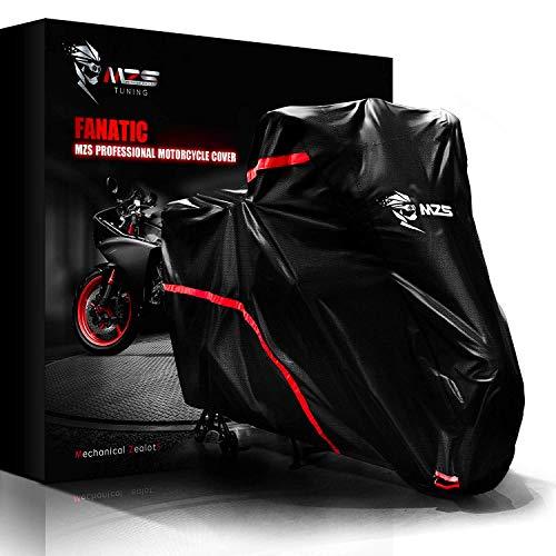 MZS Telo Coprimoto,210D Oxford Impermeabile Teli per Moto Resistente ad Acqua/Polvere/Pioggia/Vento Universale per Motorino Motociletta Scooter - Nero, 220 x 95 x 125cm (L)