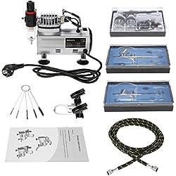KKmoon 3 Aerógrafo Equipo con Aire Compresor Accion dual Hobby Rociar Aire Cepillo Profesional para Tatuaje Uña Art Pintar Suministro Limpieza Cepillo