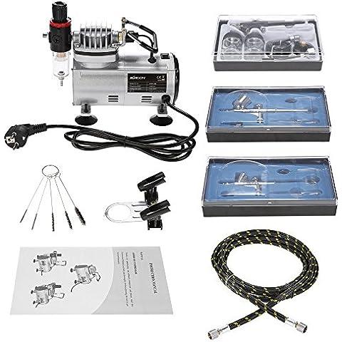 KKmoon Professionale 3 Kit Aerografo con compressore d'aria Doppia Azione Passatempo Spray Spazzola di Aria Set Tatuaggio Chiodo Arte Vernice Alimentazione W/ Spazzola di Pulizia