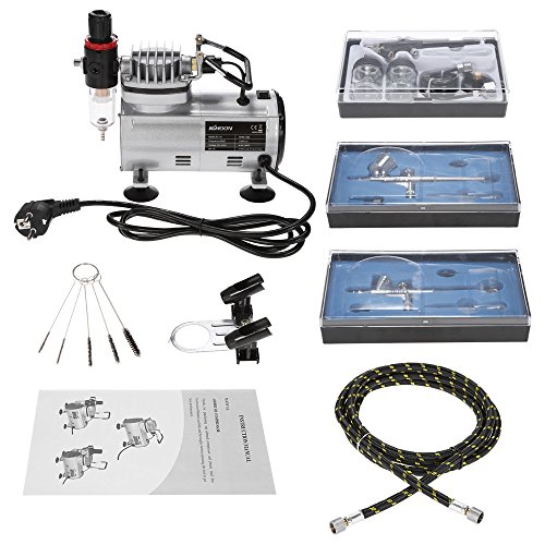 Kkmoon aerografo professionale kit con mini compressore aerografo set, set di attrezzi per la pulizia e la riparazione per modellismo pasticceria unghie nail art torte vernice spray tatuaggio