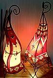 x 2 Handbemalten Orientalischen Stehlampen / Tischleuchten Henna Lampen - Rund & quadratisch - Rot & Creme 60 cm