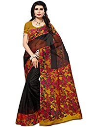Salwar Studio Women's Black & Pink Kota Doria Printed Saree With Blouse Piece(OM-0031690_Black_Free Size)