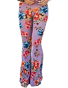 Pantalones mujer Pantalones bootcut cómodos - Pantalones acampanados de cintura alta Estampado de flores pantalones...