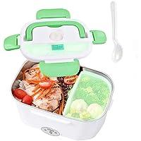 Nifogo Boîte à Lunch chauffante,Boîte à Repas 40w avec Cuillère et Deux Compartiments,Lunch Box Chauffante Électrique 2…