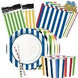 NANA'S PARTY Mantel de Rayas de Colores para Fiestas de cumpleaños, Eventos, Catering, Bodas y Ocasiones, Rojo rubí, 6 x 12oz Paper Cups