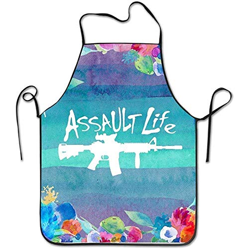 Sweet grape Adjustable Bib Aprons Assault Life Gun Rights Novelty Outdoor Durable Bib Apron Pinafore Waitress Easy Care One Size Polyester