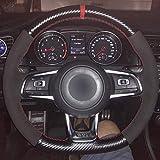 Coprivolante for auto, pelle in fibra di carbonio pelle scamosciata nera marcatore blu Coprivolante for Volkswagen Golf 7 GTI Golf R MK7 VW Polo GTI (Color : Red)