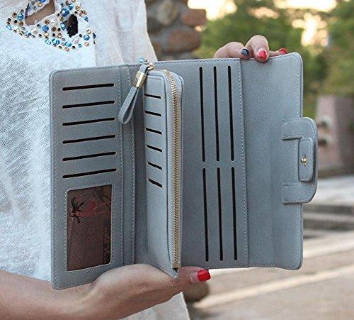 Elegante Trifold Donne Portafoglio Grande Capacità Borsa Signora Porta Monete con Multi-Card Fessura Grigio
