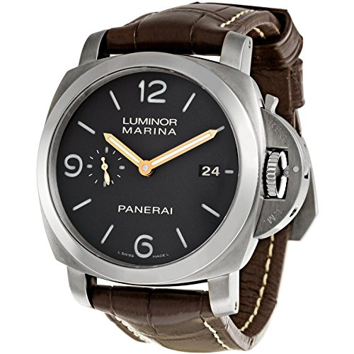 Panerai Men's 44mm Brown Leather Band Steel Case S. Sapphire Automatic Analog Watch PAM00351