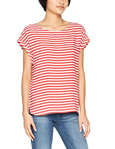 TOM TAILOR Denim Damen Bluse Printed Sporty Blouse Top, Rot (Bright Red 4079), Medium (Armee Denim)