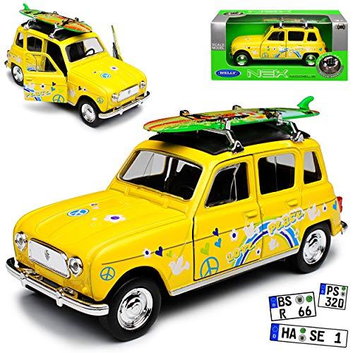 Welly Renault R4 4L GTL 5 Clan Türer Gelb mit Surfbrett Love and Peace 1961-1992 ca 1/43 1/36-1/46 Modell Auto mit individiuellem Wunschkennzeichen