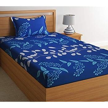 Home Ecstasy 100% Cotton Printed Bedsheet Set 3016 SGL (Blue,Single)