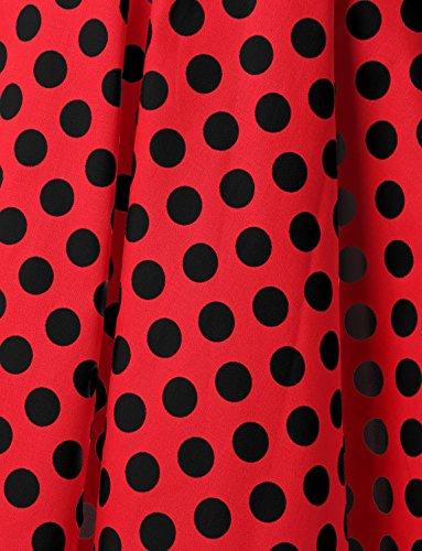Dressystar Vintage Tupfen Retro Cocktail Abschlussball Kleider 50er 60er Rockabilly Neckholder Rot Schwarz Dot M - 6