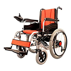 RDJM Lightweight Dual Function Foldable Power Wheelchair (Li-Ion Battery), Drive With Electric Power Or Use As Manual Wheelchair