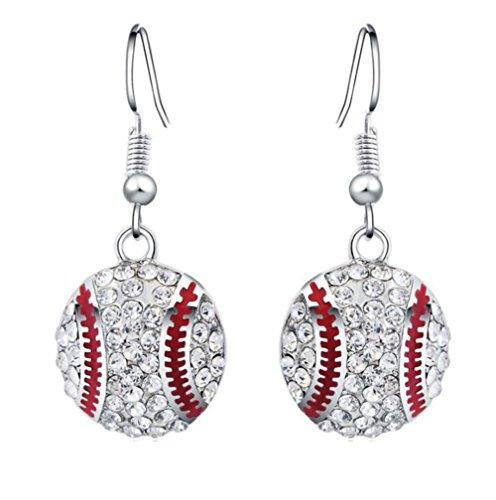 emorias 1pair Ohrringe Silber Mode Diamant Baseball hängen Creolen der Haken der Tropfen Mädchen-Frauen-Ohrringe Schmuck Zubehör