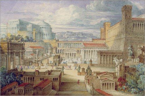 Poster 60 x 40 cm: Eine Szene aus dem Antiken Rom von Joseph Michael Gandy/Bridgeman Images -...
