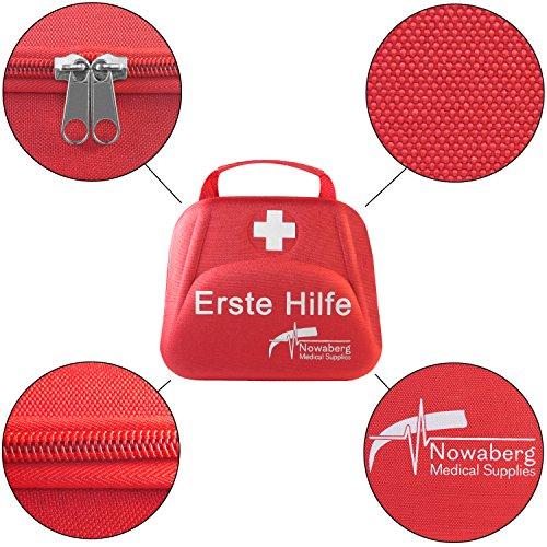 Nowaberg Medical Supplies Erste-Hilfe-Set mit CE-Kennzeichnung für Sport, zu Hause, im Büro, im Wohnwagen, beim Camping, bei Ausflügen oder auf Reisen. Tasche mit 85-teiligem Inhalt für den Notfall - 4