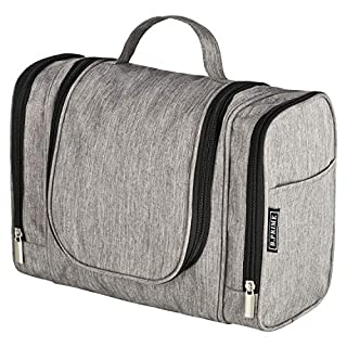 B.PRIME Classic Toiletry Bag (Grey). Large Capacity, Water-Resistant, Hanging wash Bag. Dimensions 28 x 13 x 22cm. Available in Four Colours.