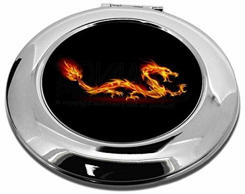 Advanta Group Kompaktspiegel, rund, Feuerflamme mit Drache auf schwarzem Schminkspiegel