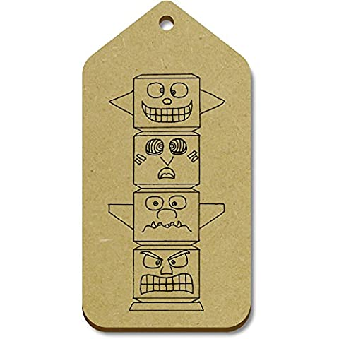 10 x Large 'Totem Pole' Wooden Gift / Luggage Tags (TG00018771)