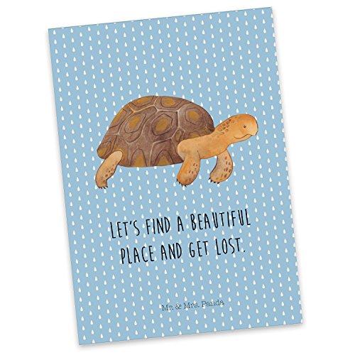 Mr. & Mrs. Panda Einladung, Sprüche, Postkarte Schildkröte marschiert mit Spruch - Farbe Blau Pastell