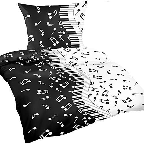 Heubergshop 2-teilige Renforce Bettwäsche 135x200cm + 80x80cm - Musik mit Noten, Geschenk für Sänger, Musiker in Schwarz und Weiß, 100% Baumwolle (B-71-10)