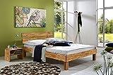 SAM® Massiv-Holzbett Jessica in Wildeiche geölt, Bett mit geteiltem Kopfteil, natürliche Maserung, massive widerstandsfähige Oberfläche in warmem Braunton, 120 x 200 cm