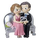 Mopec Statuetta sposi seduto 25Anniversario, Poliresina, Argento, 8.3x 14x 15cm