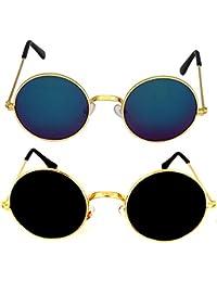 Criba Combo Of 2 Round (Mercury) Round (Black) Retro & Modish Sunglasses_round blu mrc+gld blk_CRLK03
