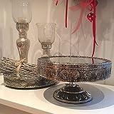 Spiegeltablett auf Fuß NOSTALGIE silber Etagere Deko Tablett Metall Shabby Landhaus