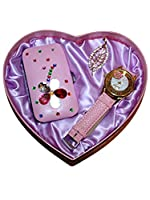 Watch Jewellery Brooch Manicure Gift Set Present For a Her Mum Valentines (Pink)
