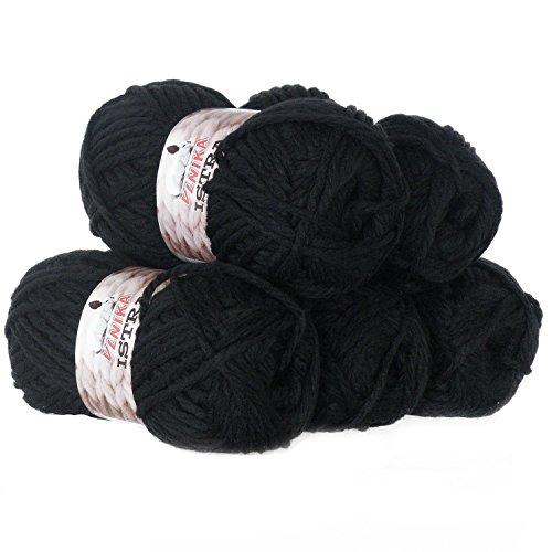 maDDma  500g Strickgarn ISTRA Strick-Wolle Handstrickgarn Uni + Mehrfarbig, dick warm, Farbe:schwarz