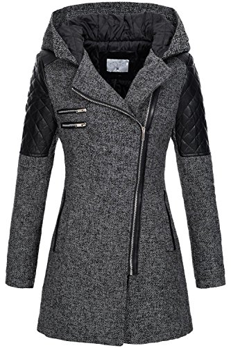 Peak Time Damen Übergangs Jacke Wollmantel Trenchcoat V-1507 Schwarz Gr. - Peak Frauen Mantel