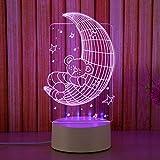 Creative Led Chevet 3D Nuit Lumière Stéréo Lumière Usb Plug-In Lumière Douce Chambre D'Économie D'Énergie Lampe De Table Pour Envoyer Petite Amie@La Lune...