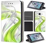 CoverFix Premium Hülle für Samsung Galaxy S7 Edge G935F Flip Cover Schutzhülle Kunstleder Flip Case Motiv (390 Abstract Grün Grau)