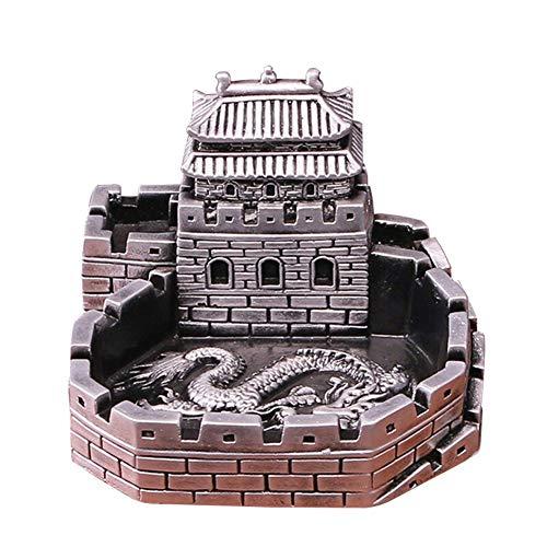 WXXKA Cenicero de Piedra, Cenicero de Piedra de Mesa de Edificio Creativo Chino, Decoraciones/Regalos, Oro/Plata Opcional, 15 * 15 * 10 Cm