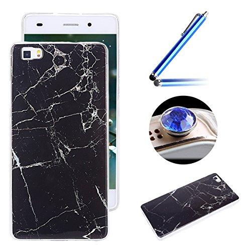 Etsue pour [ Huawei P8 Lite ] Doux Protecteur Coque,TPU Matériau Frame est Transparent Soft Cover pour Huawei P8 Lite,Marbre Motif par Dessin de Mode Case Coque pour Huawei P8 Lite + 1 x Bleu stylet + 1 x Bling poussière plug (couleurs aléatoires) - Noir