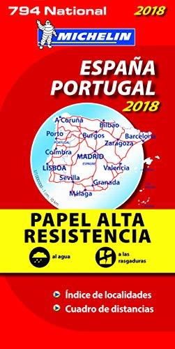 Carte Espagne Portugal Indéchirable Michelin 2018 par Michelin