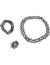 2da376abe97 Demarkt ❤️3 Pièces Collier Ras du Cou Bracelet Bague Tatouage Elastique  Style Rétro Henna Vintage