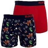 Happy Shorts 2 Pants Herren Boxershorts Boxer witzige Designs D02 X-Mas Weihnachten, Grösse:XXL - 8-56, Farbe:Design 02