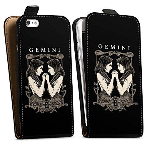 Apple iPhone X Silikon Hülle Case Schutzhülle Zwilling Sternzeichen Astrologie Downflip Tasche schwarz