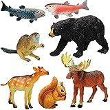 Unbekannt 7 TLG. Set - Plastiktiere / Spielfiguren - Waldtiere & Wildtiere - Spielzeug Tiere - Kunststoff / Hartgummi - Weichgummi - Spielzeugtiere - Spieltiere - schwi..