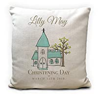 Personalised Christening Cushion Cover, Pillow Case, Christening, New Baby, Baby Shower Gift, Watercolour Church, 16 inch 40cm