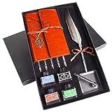 Hethrone Quill Dip Pen Kalligraphie-Federtinten-Set mit Notizbuch und Stifthalter in Geschenkbox PA-49
