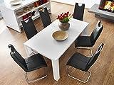 Essgruppe Tischgruppe Tisch Elton ausziehbar Hochglanz weiss + 6x Schwingstuhl Lacy schwarz